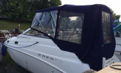 This like new Regal boat is in excellent condition. It will sleep 4 adults comfortably. It has a Merc 454 engine with approx 275 hours, has always been stored indoors, no pets or smokers, heating and a/c, inverter, VHF radio, Marine stereo, extended swim