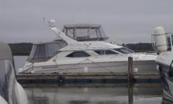 This hard to find model is fully loaded with a huge swim platform, large enclosures and upgraded factory Birds Eye maple interior cabinets! View today, you won't want to miss this one! Hull and Deck Chart Plotter, Compass, Depth Sounder, GPS, Radar, GPS