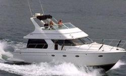Super clean inside and out with all the right options and upgrades, updated electronics, popular 2 state room floor plan, Electric Davit for the toys. Low hour 370 Cummins gives her an honest 18 knot cruise. Lower and upper helm with redundant electronics