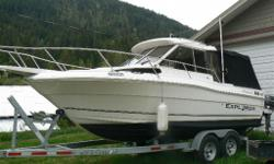 2004 Campion Explorer 682. Powered by 6.2L merc inboard/outboard drive.Only 650 hrs . 9.9 Yamaha 4 stroke high thrust kicker. Lowrance sonar. 2 Scotty electric down riggers. 2 Big John planner board masts. Hot water cabin heat. Large cuddy. Built in