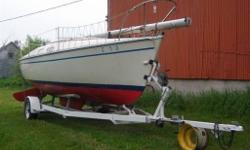 For sale is my Chrysler 22' swing keel sailboat. Ready to sail, with all sails in good condition . The engine is a 10 HP outboard gasoline motor and runs great . All new seat cushion still in plastic cover. It sleeps 5 , tiller , sink , stove, ice box ,