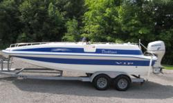 Very tidy 2005 VIP Deckliner 225 fiberglass deck boat with a powerful HONDA 150 hp 4 stroke motor. Spacious lounge lay out with a private head, easy side, bow or stern access. Ski pole, huge built in coolers and lockers for wakeboards and skis. Comes with