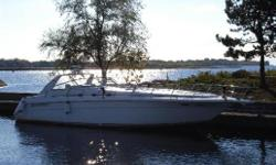 Outstanding value in a meticulously owned Sea Ray 500 Sundancer. All new custom canvas enclosure ($16,000). Over $20,000.00 in recent service such as re-built turbo units and intercoolers, new batteries, new interior and exterior carpets, new hot water