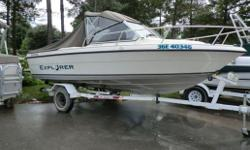 Specifications Length Overall (LOA): 222 Features CONSIGNMENT. convertible top, ladder, sm. swim platform, ski eye, wiper, built-in fuel tank, livewell, built-in tackle box, glove box, captian chair, full gauges, tilt trim, oil injection, horn, compass,