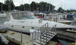 This Cruisers is powered by twin 7.4 Mercruiser MPIs (approx. 288 hours) with Bravo 3 drives for a fast economical cruise. Owner has recently installed new complete canvas and cabin teak and holly cabin floors. Options include, AC/Heat, GENERATOR, cockpit