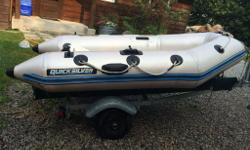 9 ft Quicksilver dingy with hard bottom , year unknown,folding rear wheels, pump and 2 paddles. I paddle is damaged. Located in Victoria Harbour near Midland. A trailer is available for an additional cost