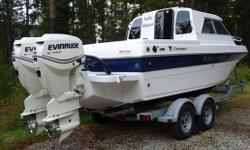 SPRING SPECIAL PRICE REDUICED     SHE IS A FRESHWATER HARD-TOP BOAT IN NEW CONDITION. SHE HAS TWIN EVINRUDE 115 HP OUTBOARD MOTORS, SS PROPS, REMOTE SEARCH LIGHT, ANCHOR, DIESEL CABIN HEATER, ICE BOX, SINGLE BURNER STOVE, SS SINK, PORTA POTTI, V-BERTH,
