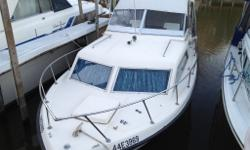 Great starter boat in good shape and shows well. Single inboard 350 engine, Full camper top, Fish finder/depth finder/loran, Vhf, etc. All teak has been redone and cabin consists of v-berth and dinette that also goes to bed and a private head. Galley