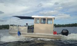 Custom built Stanley 22 ft aluminum pontoon boat for sale-just built 2014 for island property but now moving to mainland cottage so do not require it any longer. Totally maintenance free. Made by reputable Stanley Custom Boat Works in Parry Sound. Good