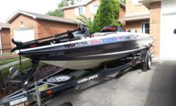 Hydra sport 19ft fiberglass bass boat,2 live wells,Trolling motor,Hydra sport Custom trailer,Spare tire,175 HP Johnson Outboard motor ,hits 60mph,Staineless still 4 blade propeller,factory ski bar,3 deep cycle marine battery,On board marine battery