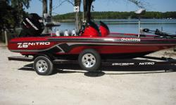 "2012 Nitro Z6 Dual Console Bass Boat with Trailer Length 17'4"", Beam 90"", 115 HP Mercury Pro XS Motor, 12V 55 LB Thrust Motor Guide Trolling Motor, Hydraulic Steering, Console includes: Lowrance 5x Fishfinder, Tachometer, Speedometer, Voltmeter + Trim,"