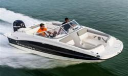 2014 Bayliner 190 Deck BoatBayliner's all-new entry-level Deck Boat is far from basic. The 190's customizable under-seat storage includes smart dividers to partition gear. Fuel-efficient Mercury outboard power gets the 190 up on plane fast, even with the