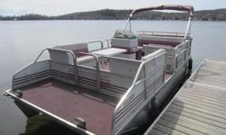 Princecraft Vantage 20 foot pontoon boat with Johnson 40 HP Boat has table and stepladder for swimming. Includes mooring bumpers, mooring cover and Bimini top. Includes fish finder. In Ottawa Gatineau area.