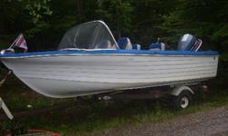 For Sale Sportscraft - 15 ft (60 inches wide) fiberglass boat with a 140 horse Evinrude outboard motor with OMC controls. Four new swivel seats, new carpeting. Trailer included. Asking $4200 ONO. Call for more details or to view 674-7579 ask for Austin.