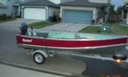 2007 Naden 14ft widebody fishing boat, 20HP Evenrude Motor that runs perfect. Comes with trailer, 2 seats, oars, anchor, spare tire, rod holder and covers - all ready to take out today
