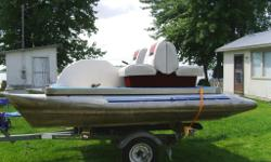 Aluminum Paddel in great shape newer boat seats fold down flat new pedels Boat is at cottage across from Pembroke Ontario no trailer open to offers