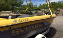 SVFARA MODEL 609 - MATCHING WAKEBOARD/SKATE/SURF TOWER WITH BOARD RACKS - WATER SKI TOW PYLON - SWIM PLATFORM - BOAT COVER - EXCELLENT CONDITION - NEW UPHOLSTERY - HEATING/DEPTH/AIR & LAKE TEMP GAUGES - ASKING $22000. OR BEST OFFER - MUST SELL - CALL JIM