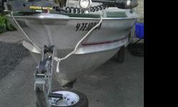 16 Ft. Meyers boat and trailer with 25hp Mercury motor, 40lb thrust Minnkota bow mount electric trolling motor with foot control, 2 brand new batteries, bilge pump, lights for night fishing, lots of storage compartments, stored indoors, great fishing