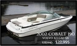 This boat is in great condition! Sold by us and serviced by us since new! The popular 190 model features 'stadium' style seating, which means you can put a lot of people on this boat! pleanty of storage as well! Cobalt quality throughout!