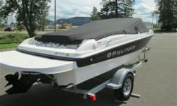 2011 Bayliner 185, with a depth finder/ fish finder, bucket bolster seat at the helm, back to back seats on the port side that opens into a sun lounge, when required. Optional extended swim platform, a galvanized swing tongue trailer, and powered by a