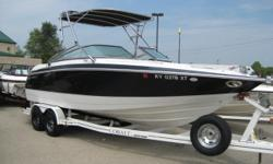 2002 Cobalt 24' Bow Rider powered with a 5.7 L Volvo GXi and Volvo Duo Prop drive, extended swim platform, plenty of storage, Kevlar Hull, head, snap in carpets, wake board tower with fixed bimini top, tonneau cover, CD stereo with CD changer, bolster
