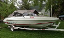 Tarps-2 years old Engine- Serviced by mechanic every season. New bellows, throttle cables, battery (2) done within the last 2-3 years Seats show some wear. (See pics) Seats 8 ppl comfortably. Sleeps 2 comfortably. 5.7L 250HP engine. Pulls Skiers,