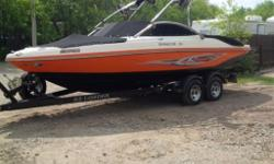 A very sharp head turner orange and black rinker for sale. Comes with hardly used 350 merc 300 hp inboard with dual props, dual performance/silent exhaust, dual batteries, dual power trim tabs, tower, speakers, sub, u-shaped seating, cd/ satellite radio,