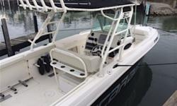 Cuddy Twin Yamaha 250 4-Stroke Engines (260 hours) Recently completed Yamaha maintenance 13 Gal. Fresh Water Tank 288 Gal. Fuel Tank Isotherm Stainless steel fridge Stove & sink 30amp 110v Shore Power Power Steering Upgraded trim-tabs Separate head with