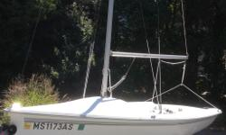 "Sail no. 859 (boat hull ID CPSM0820D303) ? 17' 2"" LOA, 7' beam (specs, brochure on request) ? New Evolution Dacron Jib June of 2014(roller furling) ? Much is new, upgraded rigging, lines, cleats, etc. ? Honda 2.3hp outboard, new 2013. Hardly used."