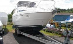This 2001 Bayliner 3055 comes with generator, air/rev heat, remote spotlight,u-shaped cockpit lounge, spacious cabin that will sleep 6. power is twin mercrusier 5.7 brovo II drives with a total of 500hp. Trailer in picture not included in price but is