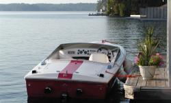 Purchased new in Muskoka (Gordon Bay Marine); this Donzi with a 502 magnum V8 engine has been well taken care of by both Gordon Bay and Pride of Muskoka. Hours were mostly moonlight cruises. It does need the red Gelcoat redone on the back and sides (it is
