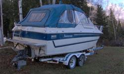 5.4 Litre OMC Cobra outdrive, Forward V-birth, stand up head, sink, depth sounder, fish finder, Compass, Trim Tabs, AM/FM Radio, VHF Radio, dual batteries, Radar Arch, Anchor, Swim Platform, spare new prop, Tandem Roller Trailer & spare tire