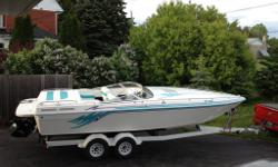 This boat is in fantastic shape. New interior in 2013. Hull in great shape will not disappoint. 3 tops, drop down front seats, silent choose exhaust, power hatch and auto fire system in engine hatch. Stored indoors always and well taken care of.