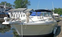 Beautiful and well maintained Express cruiser. Almost 40 ft in overall length, provides spacious accomodations for the discerning boater, whether staying on-board in-dock or taking it out on the open water. This fine marine craft remains stable and