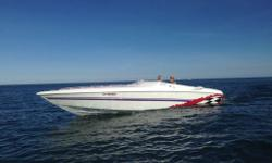 This boat has only seen fresh water and is in excellent condition. With Imco Racing exhaust, new Quaker State marine batteries, full onboard stereo system, emergency marine radio, GPS, porta potty, sun deck, swim platform, bed, couches, bucket seats and a