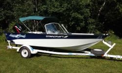 For sale is gently used and always garage kept 16 FT aluminum riveted boat Starcraft Super Sport. The was purchased in 2004 and since then view less then 50 hours of use. No scratches or dings on the boat. There is small scratch on the decal of the