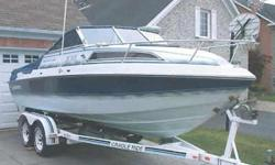 his is a very low hour 3rd owner boat (520). It comes with a 1991 Cradle Ride double axle trailer, full camper top (like new, hardly ever used), bimini top, custom made winter cover and a brand new toneau cover (1000). It has a fuel efficient 4.3 L