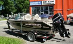 A FULLY LOADED BLACK 2009 PRINCECRAFT SUPER PRO 176 SPECIAL EDITION WITH A 150HP MERCURY OPTIMAX AND A 9.9HP MERCURY PRO KICKER, 75PD TROLLER, CUSTOM TRAILER, MOORING COVER, DOWNRIGGER PLATES, ON BOARD CHARGER, BOW CUSHIONS, VINYL FLOOR, RECLINING DRIVER