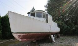 wooden hull boat with 6 cyl diesel