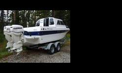 SHE IS A FRESH WATER HARD-TOP BOAT IN NEW CONDITION. SHE HAS TWIN EVINRUDE 115 HORSEPOWER OUTBOARD MOTORS, SS PROPS, REMOTE SEARCH LIGHT, ANCHOR, DIESEL CABIN HEATER, ICE BOX, SINGLE BURNER RANGE, SS SINK, PORTA POTTI, V-BERTH, SLEEPS 3,BAIT TANK, FISH
