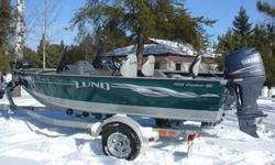 2009 1725 Lund Explorer SS with dual consoles and bubble windshields. Special edition Lund green with grey vinyl floor and 2009 Yamaha 90 hp EFI fourstroke. Comes with 3 pedestal seats, Lowrance LMS 522 fishfinder w/GPS, 24 Volt Motorguide 75# thrust