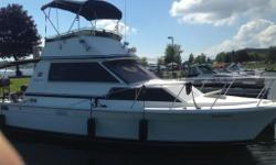 Great running boat with it's twin 318 Chryslers, 225hp engines and it's 12 foot beam makes it very stable It looks good at the dock or cruising down the river It's a solid and dry boat Many up grades. New head with 28 gal. holding tank with level sensor