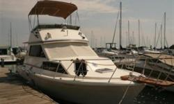 Many recent upgrades make this vintage 30' Trojan Flybridge Express model worth looking at. Favourable survey from September 2009 is available. Dual Stations, 850 Hours on Twin Mercruiser 305 CID 225 Horsepower Inboards.Reverse Heat and Air Conditioning,