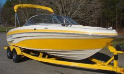 Turn key boat, ready for use. VERY LOW HOURS (42) All safety equipment, (horns, bailer, flairs, fire extinguisher, paddles, hook, person throw rope), life vests and preservers, upgraded no skip stereo system, & upgraded stereo speakers, Mooring & Bimini
