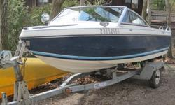 Great fishing boat! Equipped with 50hp evinrude that runs excellent. Boat comes with hummingbird fish finder, safety kit, spot light, electric start, navigation lights, two 22l gas cans, CD stereo and four marine speakers, ropes, newer galvanized trailer,