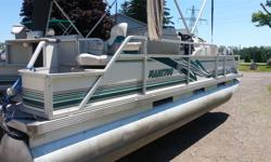 "2001 Manitou 20' Pontoon with 25 hp. Evinrude (4 stroke). This boat is perfect from front to back, everything looks new. Toons themselves are 23"" in diameter and have been taken care of each and every year before storage. This boat was stored properly at"