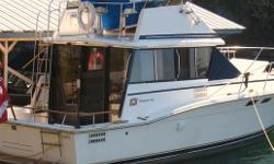 CLEAN 1978 F-32 TROJAN FLY BRIDGE,SLEEPS SIX, TWIN STATION COMMAND, FLY BRIDGE WITH ENCLOSURE ,TWIN GAS CHEV 305 ,6.5 HP GENERATOR ,REVERSE AIR CONDITIONER,ANCHOR WINDLASS,SHOWER ,HEAD,12 VOLT-110 FRIDGE, STOVE, OVEN ANCHOR WINDLASS,RECENT SURVEY, WELL