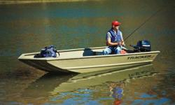"The all-welded TRACKERR GRIZZLYR 1448 AWL is perfect for outdoorsmen who want a rugged, no-frills Jon boat that can fish and hunt. Its 19"" (48.26 cm) all-aluminum transom is designed to accommodate a long-shaft tiller engine for easy control. This also"