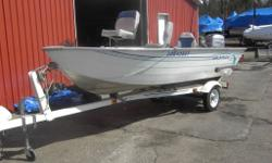 1996 boat with 2000 35HP 3 cylinder Johnson with electric start. Floor and carpet replaced in 2012. Comes with lights, gas tank, trailer, livewell,storage, three seats, and of course the engine.