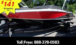 Volvo Penta V6 200hp bimini top trailer with brakes stereo High style and sporty details set this 18-foot open-bow rider well apart from the pack. You'll love the spacious layout and exciting SS gel scheme and graphics too.